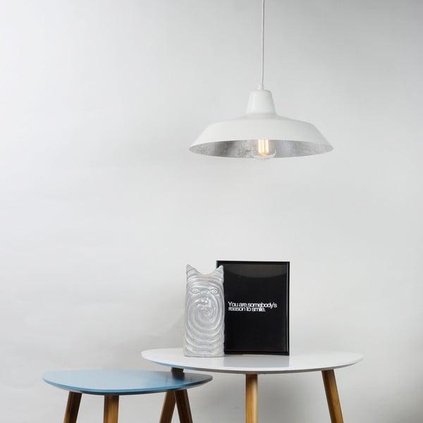 Bílé stropní svítidlo s detailem ve stříbrné barvě Bulb Attack Cinco