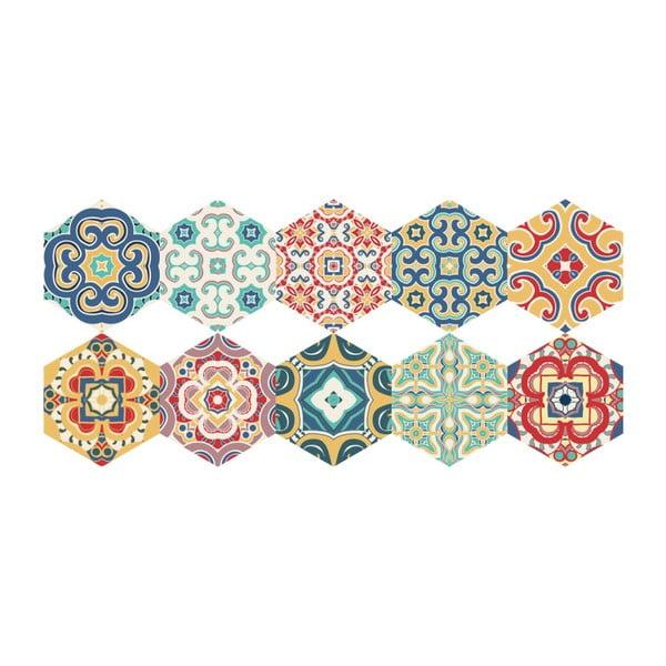 Set 10 autocolante de podea Ambiance Hexagons Lorena, 40 x 90 cm