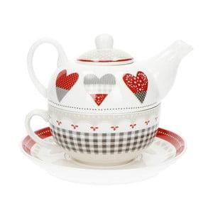 Set ceainic cu farfurie din porțelan Brandani Happy Days