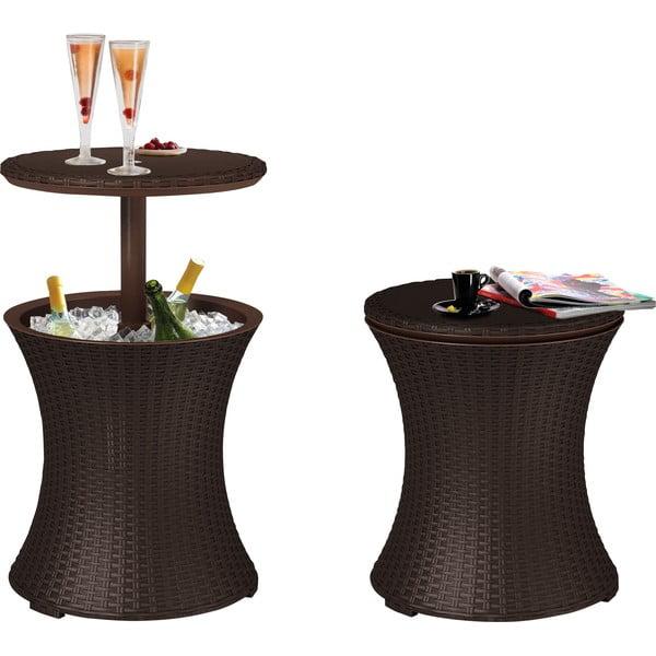 Hnědý zahradní barový stolek Keter Natural