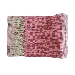 Červená ručně tkaná osuška z prémiové bavlny Homemania Damla Hammam,100x180 cm
