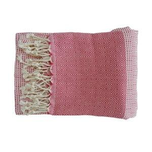 Prosop țesut manual din bumbac premium Damla, 100 x 80 cm, roșu