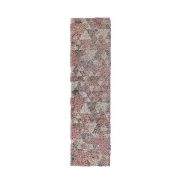 Szaroróżowy chodnik Flair Rugs Nuru, 60x230 cm