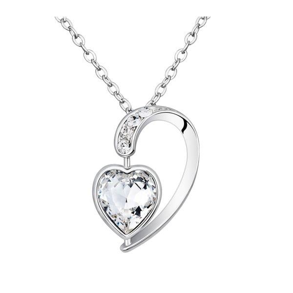 Naszyjnik z białymi kryształami Swarovski Elements Crystals Heart Drop
