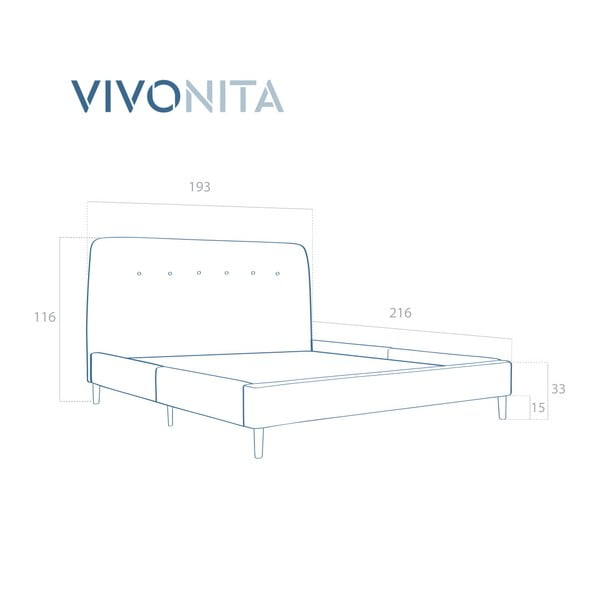 Světle šedá dvoulůžková postel s dřevěnými nohami Vivonita Mae King Size, 180 x 200 cm