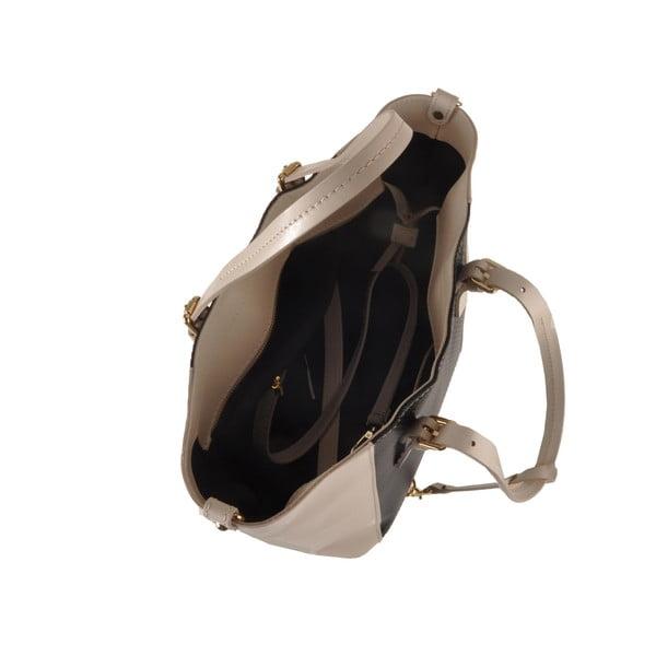 Kožená kabelka Gomeisa, černá/béžová