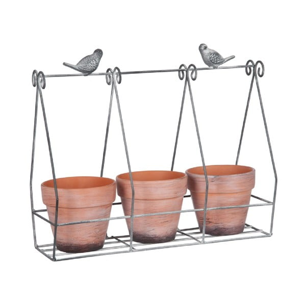 Sada 3 květináčů ve stojanu Rack