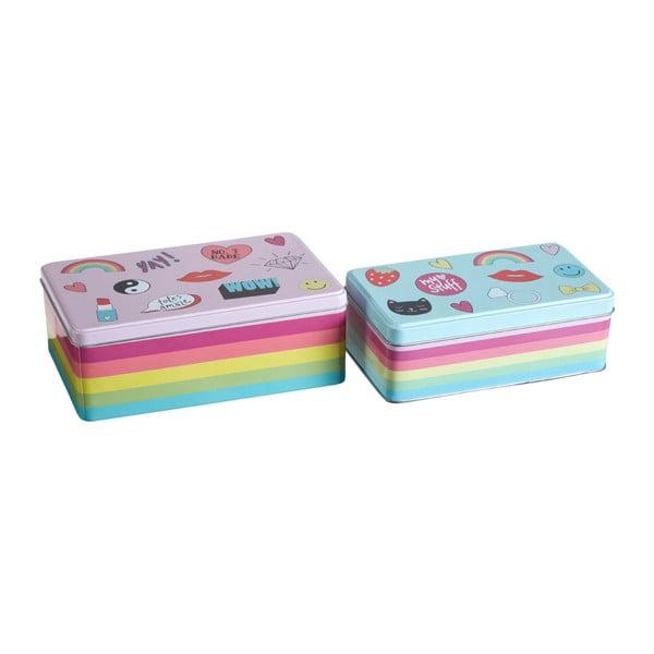 Set 2 cutii depozitare din tablă Premier Housewares Fun Times, 13 x 20 cm