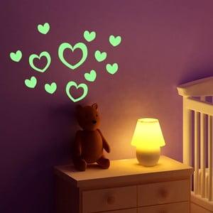 Sada 10 svítících samolepek Fanastick Hearts