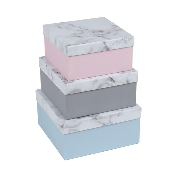 Sada 3 úložných krabic Marble