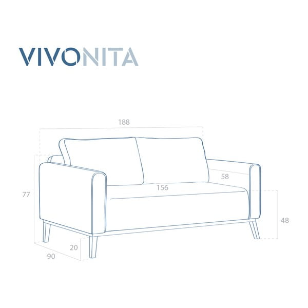 Tyrkysová třímístná pohovka Vivonita Milton