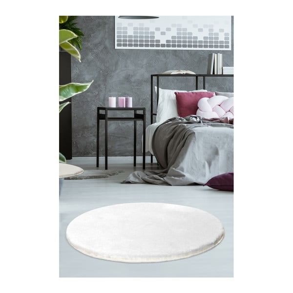 Bílý koberec Milano, ⌀90cm
