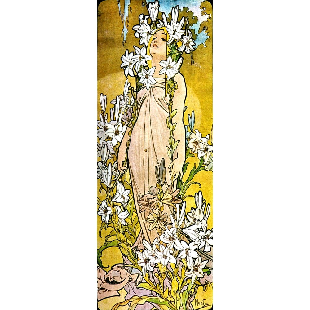 Reprodukce obrazu Alfons Mucha - The Flowers Lily 30 x 80 cm