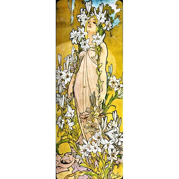 Reproducere tablou Alfons Mucha - The Flowers Lily, 30 x 80 cm