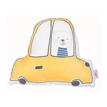 Pernă din amestec de bumbac pentru copii Apolena Pillow Toy Car, 25 x 30 cm, galben