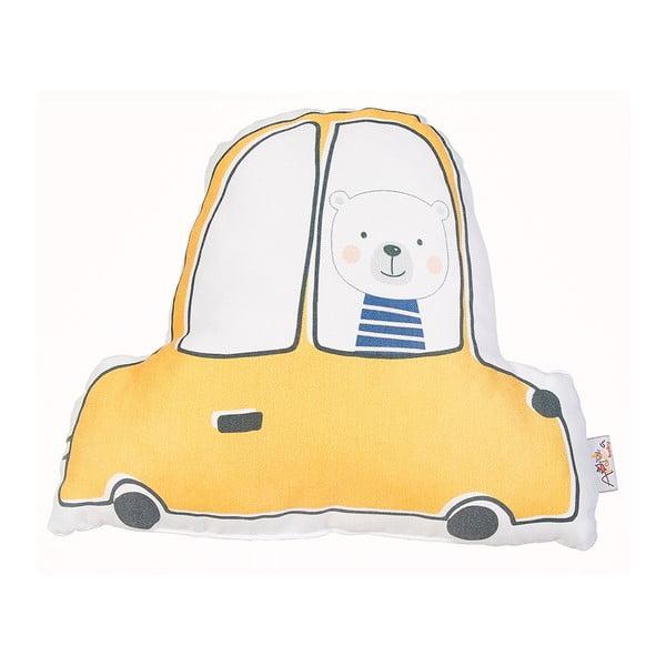 Žlutý dětský polštářek s příměsí bavlny Apolena Pillow Toy Car, 25 x 30 cm