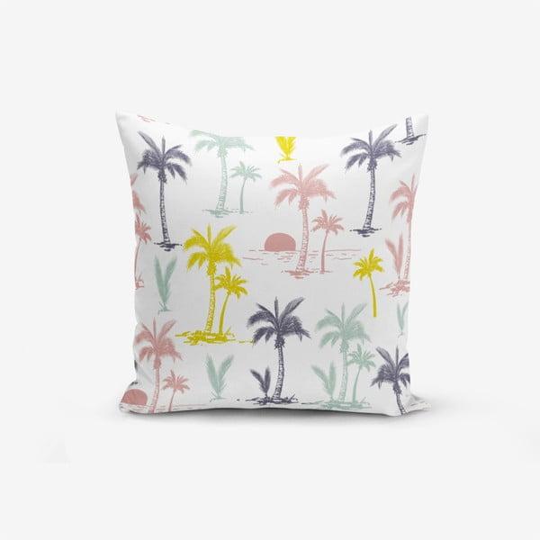 Față de pernă cu amestec din bumbac Minimalist Cushion Covers Yellow Dark Blue Sundown Modern, 45 x 45 cm