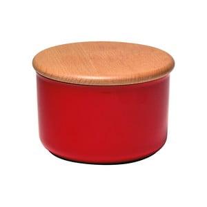 Červená dóza s dřevěným víčkem Emile Henry, objem 0,5 l