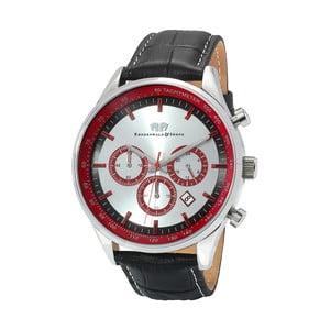 Černé pánské hodinky z pravé kůže s červeným ciferníkem Rhodenwald & Söhne Eastwood