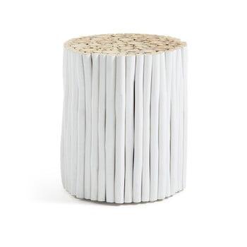 Taburet din lemn de tec La Forma Filippo, ø 35 cm, alb imagine