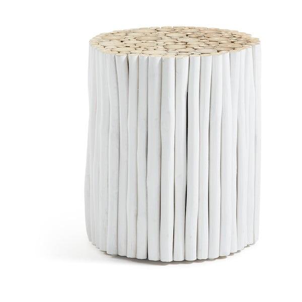 Filippo fehér teakfa puff, ⌀ 35 cm - La Forma