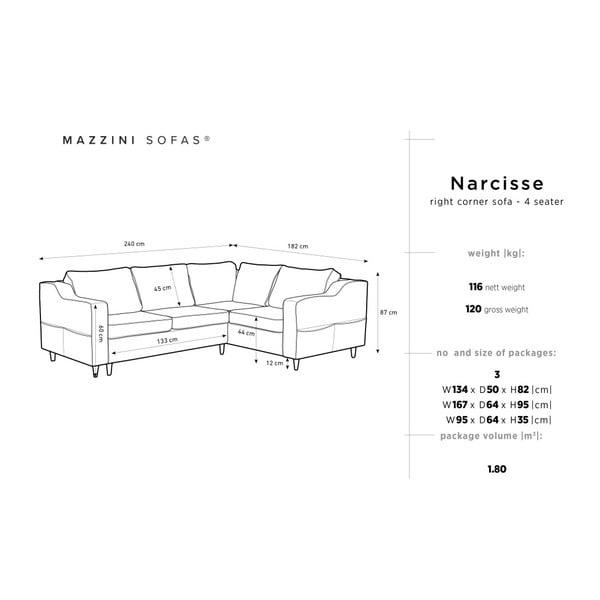 Antracitová pětimístná rozkládací pohovka s úložným prostorem Mazzini Sofas Narcisse, pravý roh