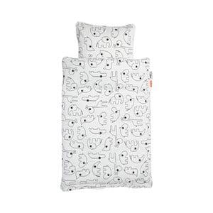 Bílé dětské povlečení Done by Deer Contour, 70x100cm