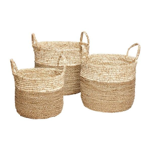 Komplet 3 koszyków z morskiej trawy Hübsch Maria