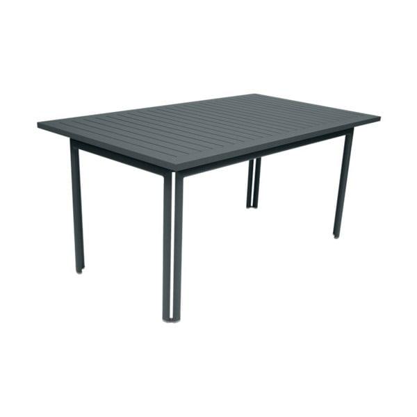 Tmavosivý záhradný kovový jedálenský stôl Fermob Costa, 160×80 cm