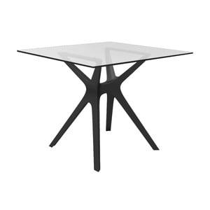 Jídelní stůl s černýma nohama a se skleněnou deskou vhodný do exteriéru Resol Vela, 90 x 90 cm