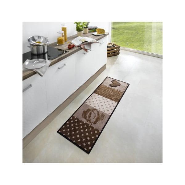 Hnědý kuchyňský koberec HanseHomeCoffeeHeart, 50x150cm