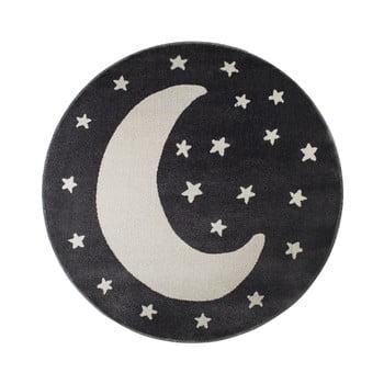 Covor rotund KICOTI Moon, ø 100 cm, negru-alb de la KICOTI
