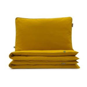 Hořčicově žluté bavlněné povlečení na dvoulůžko Mumla, 200x220cm