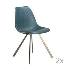 Set 2 scaune cu bază aurie DAN-FORM Pitch, albastru