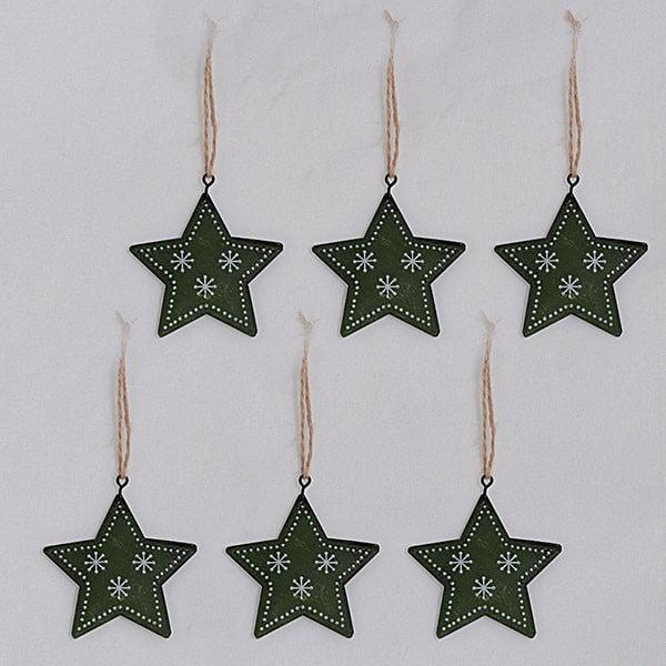 Kovové závěsné dekorace zelené hvězdy, 6 ks