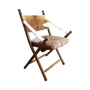 Scaun din lemn de tec și piele de capră Orchidea Milano Sion