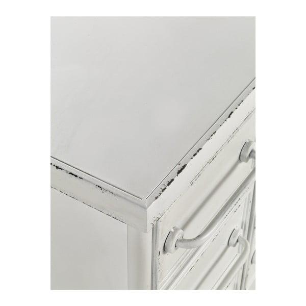Bílá kovová pojízdná komoda na kolečkách Geese Industrial Style