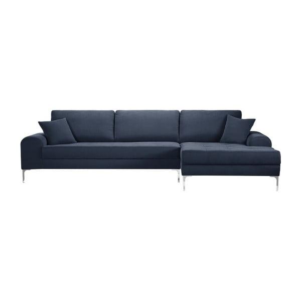 Set canapea albastru închis cu șezlong pe partea dreaptă, 4 scaune crem și saltea 160 x 200 cm Home Essentials