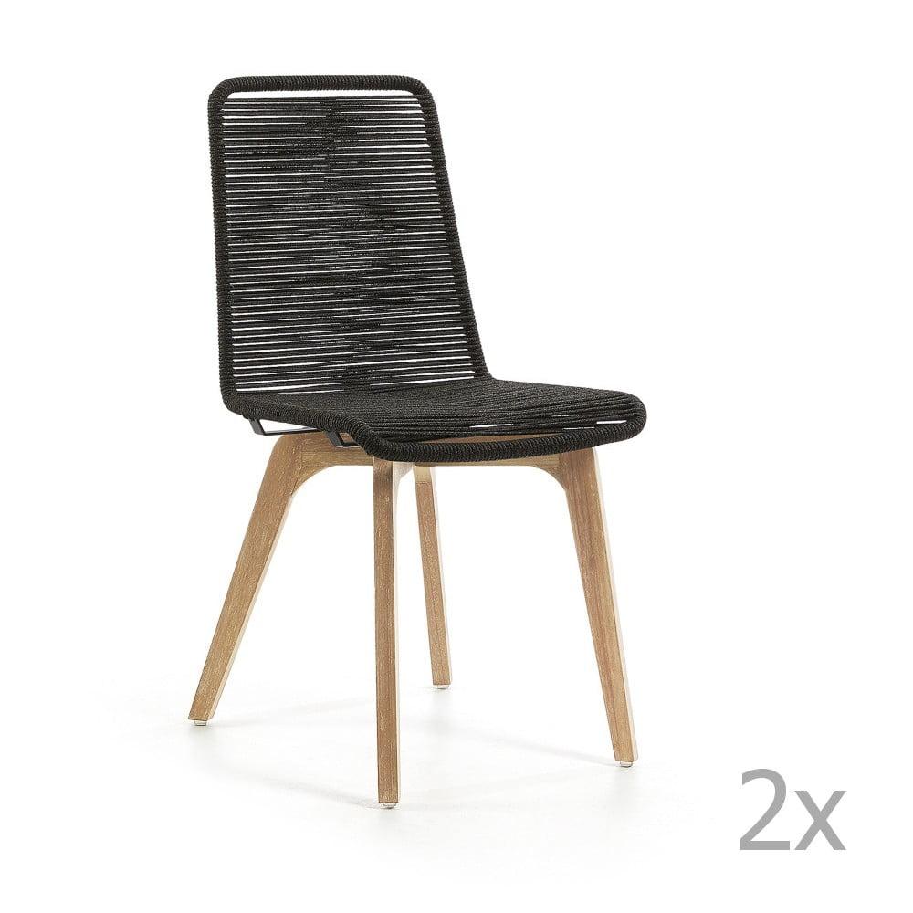 Sada 2 tmavě šedých židlí La Forma Glendon