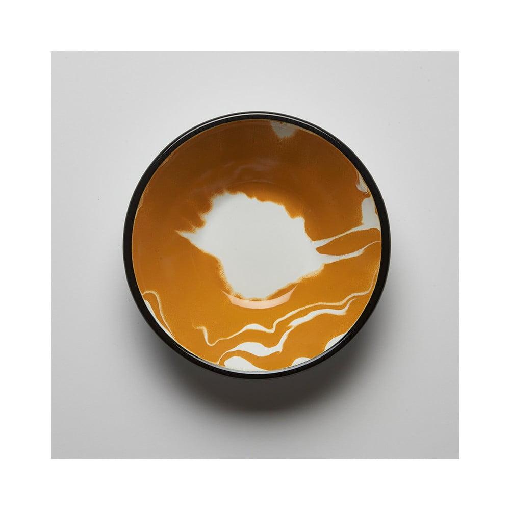 Oranžovobílá smaltovaná miska Kapka Little Color, Ø16,5cm