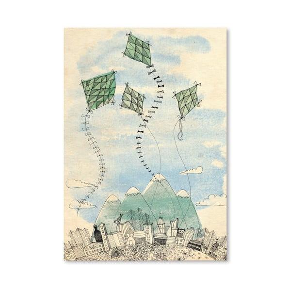 Plakát Four Happy Kites, 30x42 cm