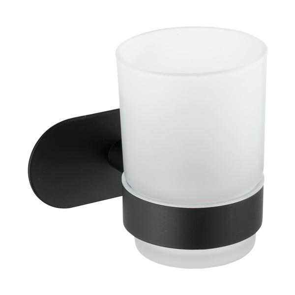 Bílý nástěnný kelímek na kartáčky s matně černým držákem z nerezové oceli Wenko Uno Bosio Turbo-Loc®
