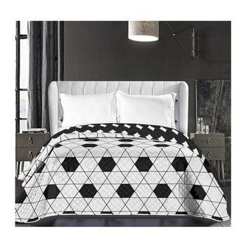 Cuvertură reversibilă din microfibră DecoKing Hypnosis Harmony, 240 x 260 cm, alb-negru