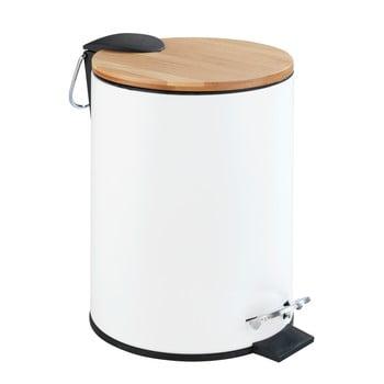 Coș de gunoi cu pedală Wenko Tortona Bamboo, 3l, alb imagine