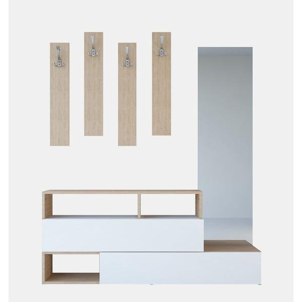 Drewniany zestaw szafki i wieszaków Charles Brown, szer. 137 cm