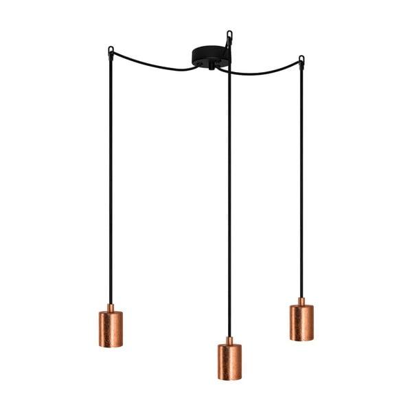 Závěsné svítidlo se 3 černými kabely a objímkami v měděné barvě Bulb Attack Cero
