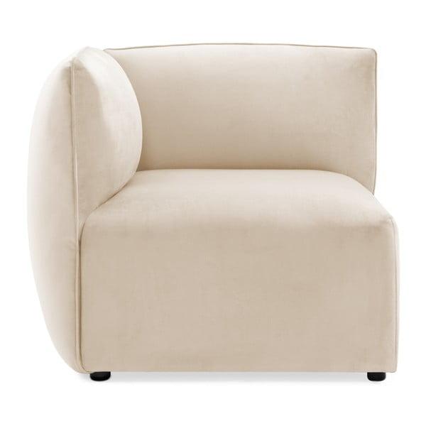 Szarokremowy lewy narożny moduł sofy Vivonita Velvet Cube