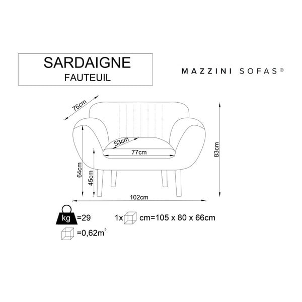 Mentolově zelené křeslo se světlými nohami Mazzini Sofas Sardaigne