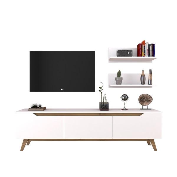 Zestaw białej szafki pod TV i 2 półek Wren