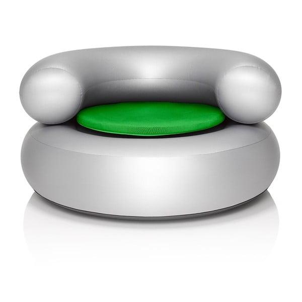 Fatboy nafukovací křeslo CH-AIR, stříbrné se zeleným polštářem